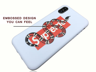 iPhone X Case - GG Snake Supreme Embossed Silicone Design (WHITE)