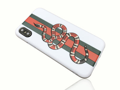 iPhone X Case - GG Snake Embossed Silicone Design (WHITE)