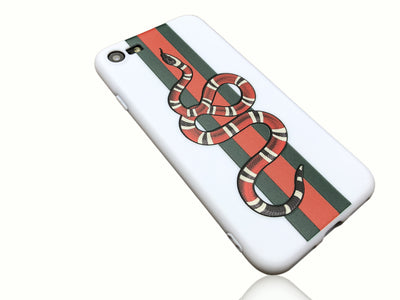 iPhone 7/8 Case - GG Snake Embossed Silicone Design (WHITE)