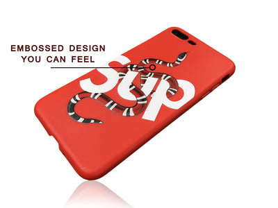 iPhone 7/8 PLUS+ Case - GG SUP Snake Silicone Design (RED)