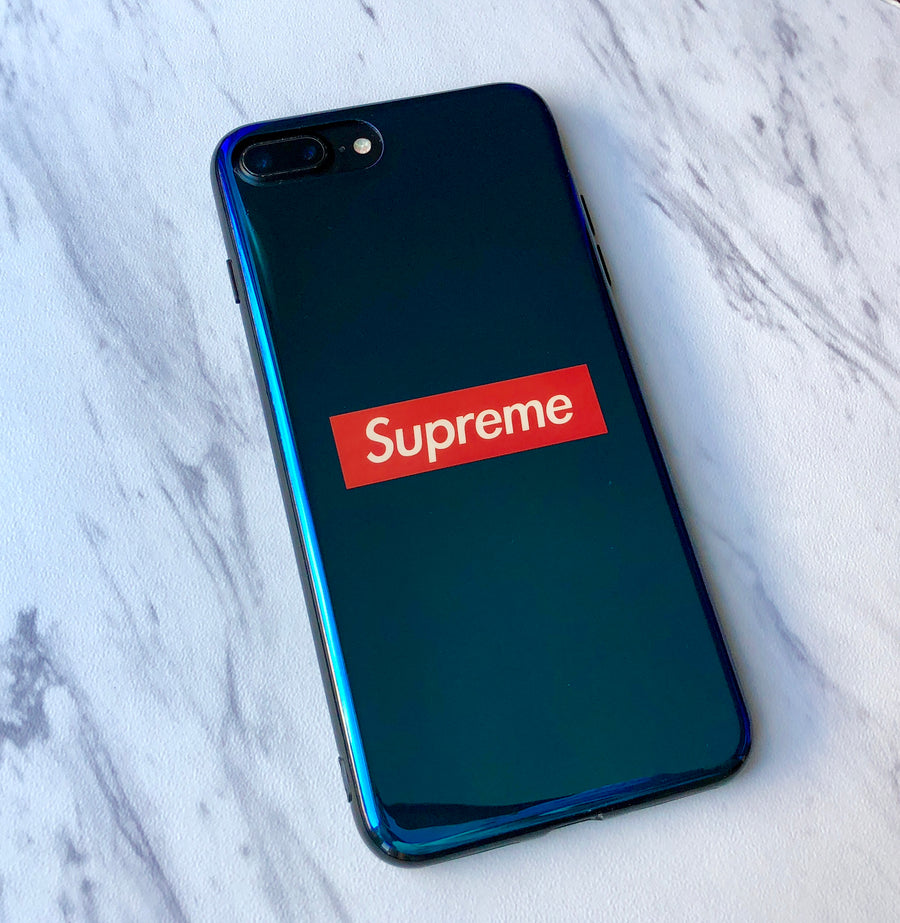 iPhone 7/8 PLUS+ Case -Blue Iridescent Mirror Urban Streetwear Fashion Design Supreme