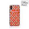 iPhone X Case - Grain Textured Monogram Design (RED)