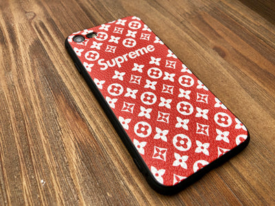 iPhone 7/8 Case - Grain Textured Monogram Design (RED)