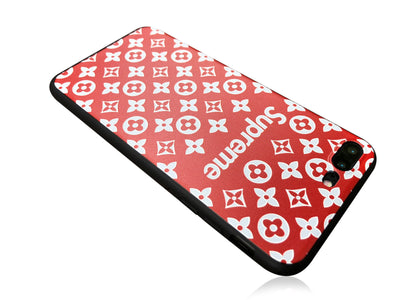 iPhone 7/8 PLUS+ Case - Embossed Monogram Silicone Design (RED)
