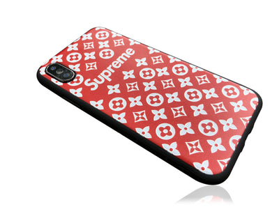iPhone X Case - Embossed Monogram Silicone Design (RED)