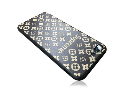 iPhone 7/8 PLUS+ Case - Embossed Monogram Silicone Design (Black/Brown)