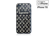 iPhone 7/8 Case - Embossed Monogram Silicone Design (Black/Brown)