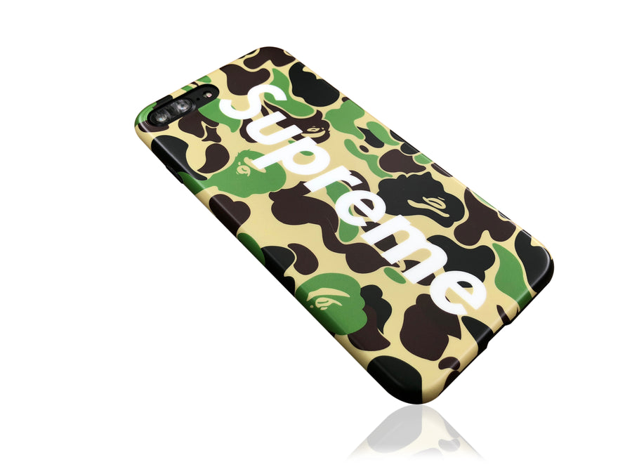 iPhone 7/8 PLUS+ Case - Camouflage Bape X Supreme Silicone Design (GREEN CAMO)