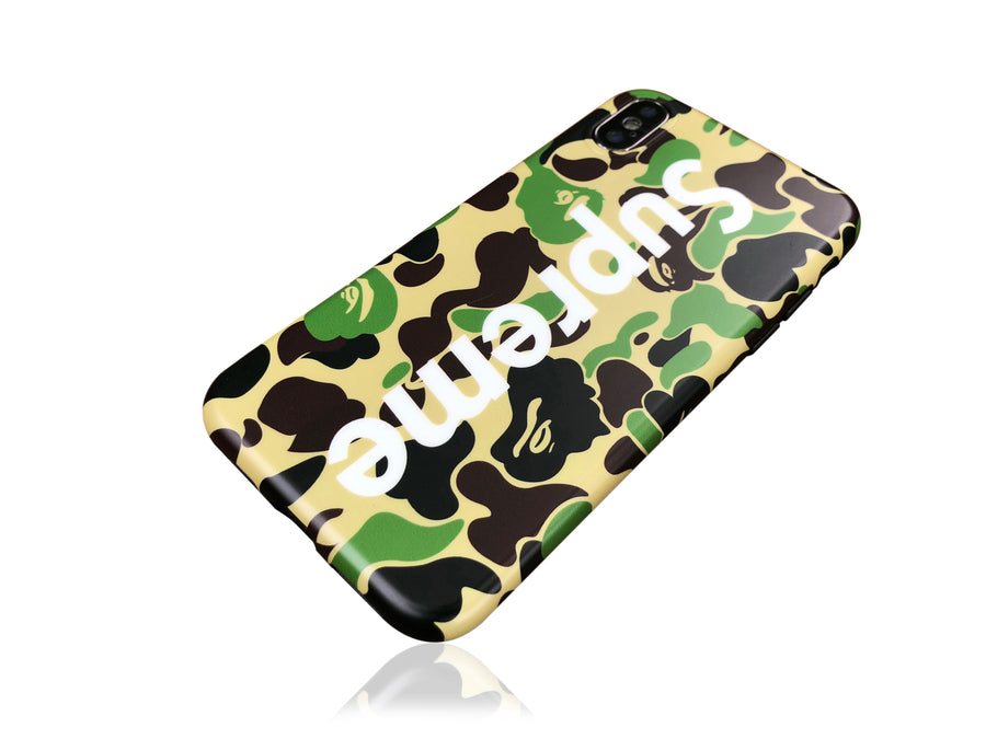 iPhone X Case - Camouflage Bape X Supreme Design (GREEN CAMO)