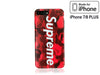 iPhone 7/8 PLUS+ Case - Camouflage Bape X Supreme Silicone Design (RED CAMO)