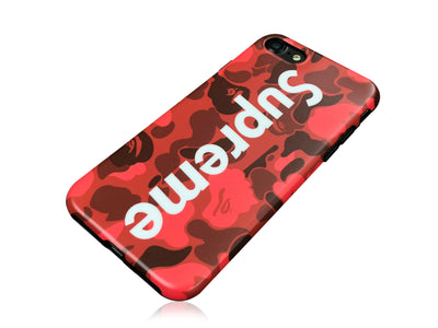 iPhone 7/8 Case - Camouflage Bape X Supreme Silicone Design (RED CAMO)