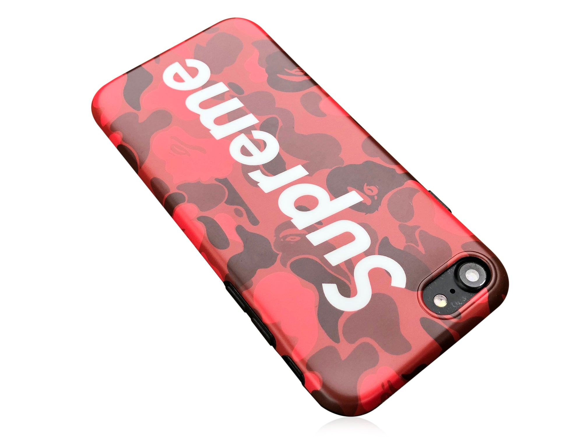 cheap for discount 99ef9 b1a7f iPhone 7/8 Case - Camouflage Bape X Supreme Silicone Design (RED CAMO)