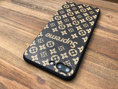 iPhone 7/8 PLUS+ Case - Grain Textured Monogram Design (Black/Brown)