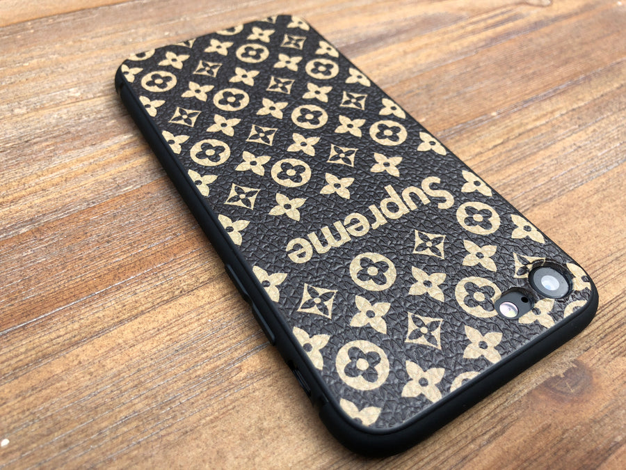 iPhone 7/8 Case - Grain Textured Monogram Design (Black/Brown)