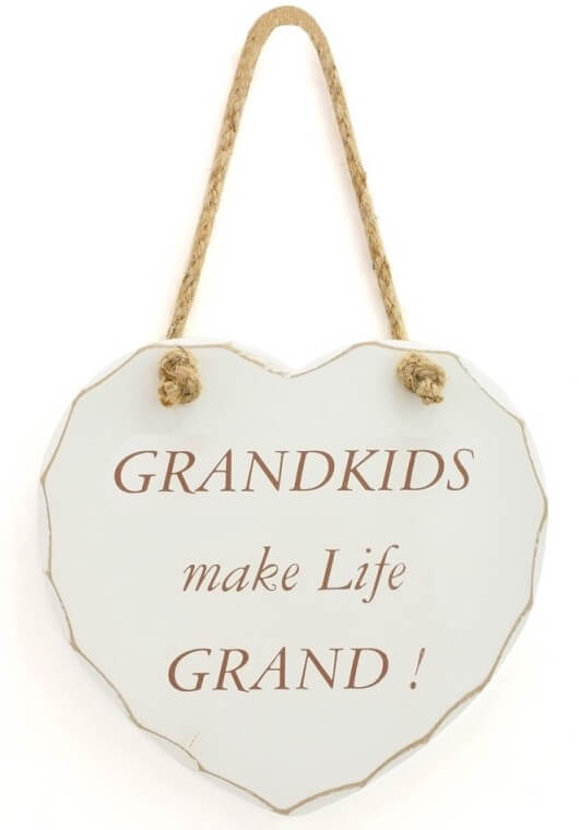 Grandkids Make Life Grand Quote Hanging Heart Sign