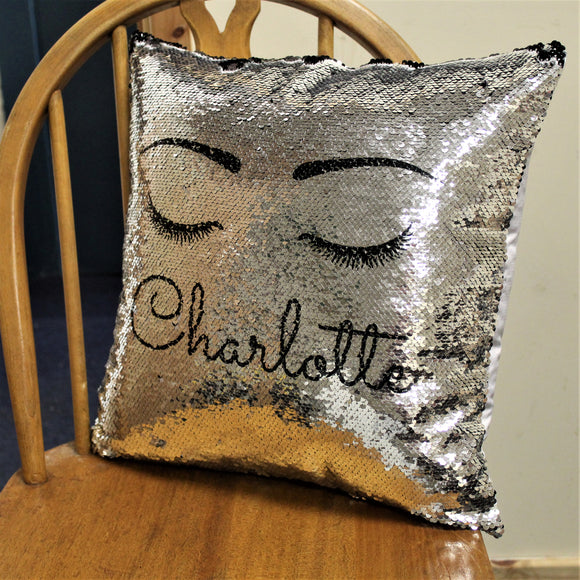 Eyelash Black Sequin Cushion