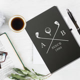 Golf Clubs Black Notebook & Pen