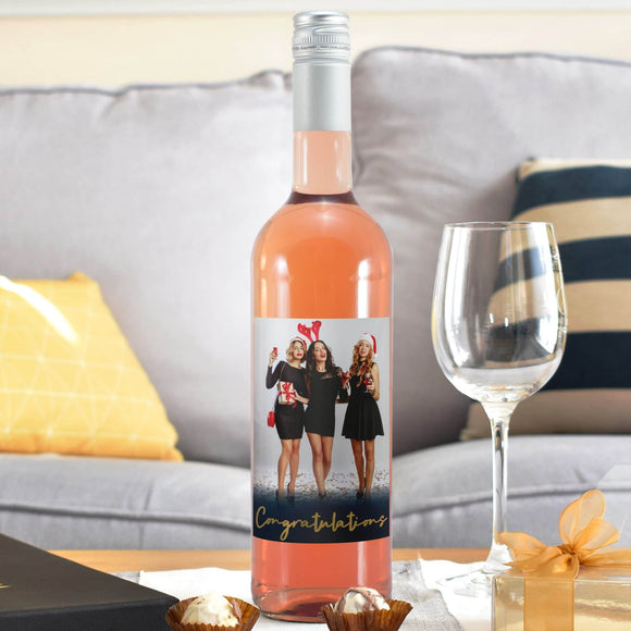 Congratulations Photo Upload Rosé Wine