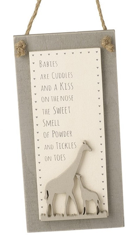 Baby Nursery Giraffe Hanging Plaque