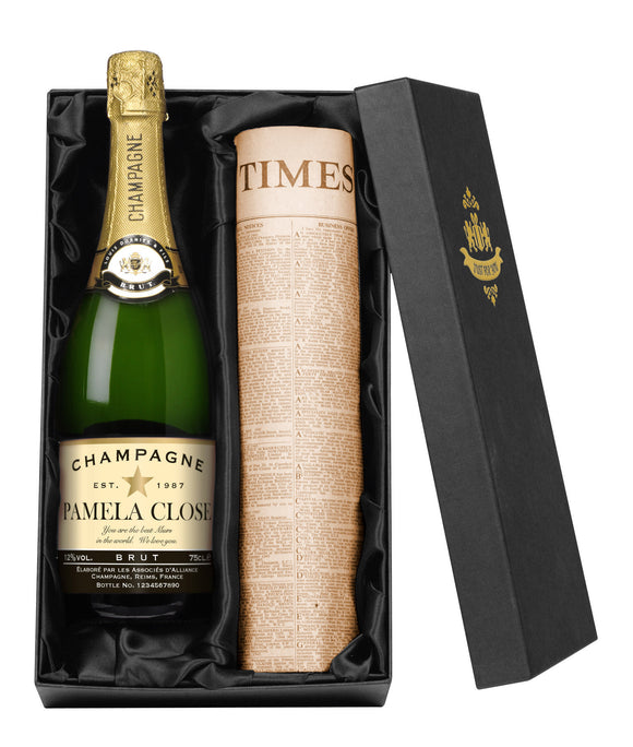 Personalised Champagne & Original Newspaper