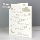 Twinkle Twinkle Personalised New Baby Card