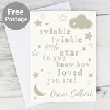 Personalised Twinkle Twinkle New Baby Card