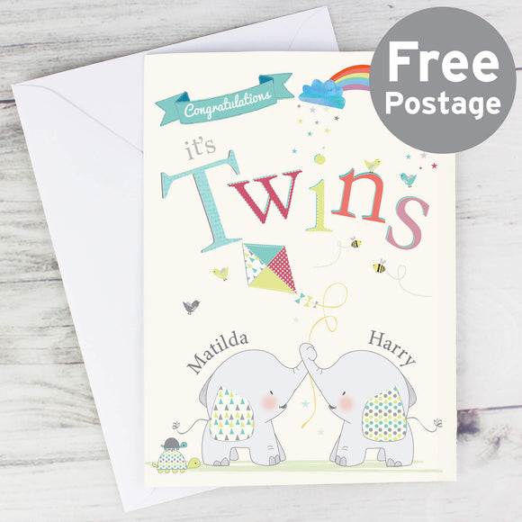 Personalised Hessian Friends Twins Card