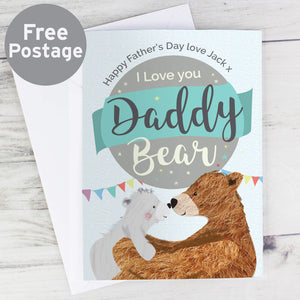 Personalised I Love You Daddy Bear Father's Day Card 2