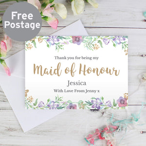 Personalised Maid of Honour Thank You Card