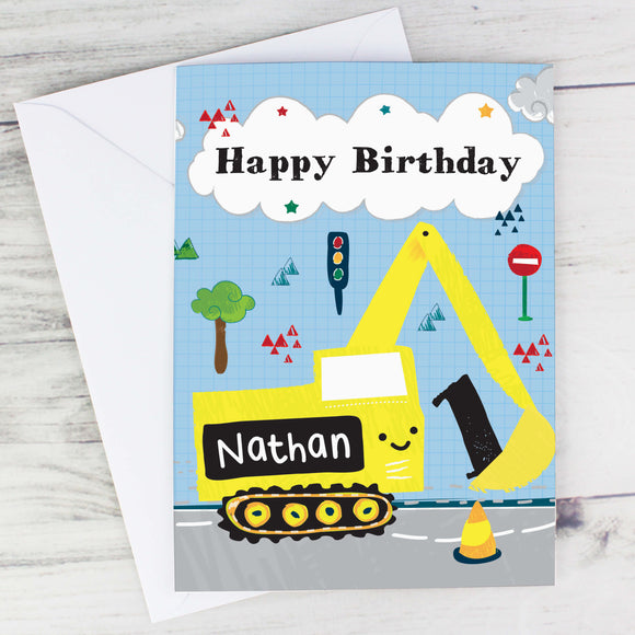 Personalised Digger Birthday Card Main Image