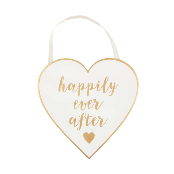 Happily Ever After Heart Shaped Hanging Plaque
