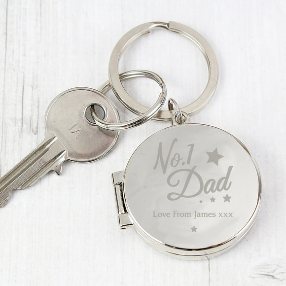 Personalised No.1 Dad Photo Key Ring Main Image