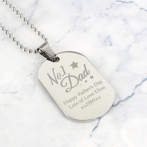 Personalised No.1 Dad Dog Tag Necklace Main Image