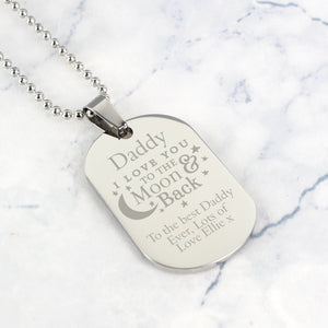 Personalised Love you to the moon and back dog tag necklace, main image