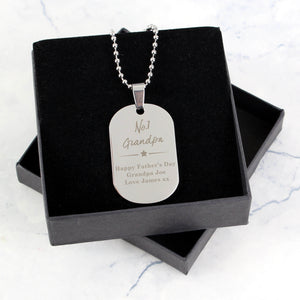 "Personalised ""No.1"" Dog Tag Necklace in Gift Box"