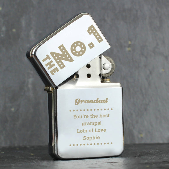 Personalised 'The No.1' Silver Lighter Grandad