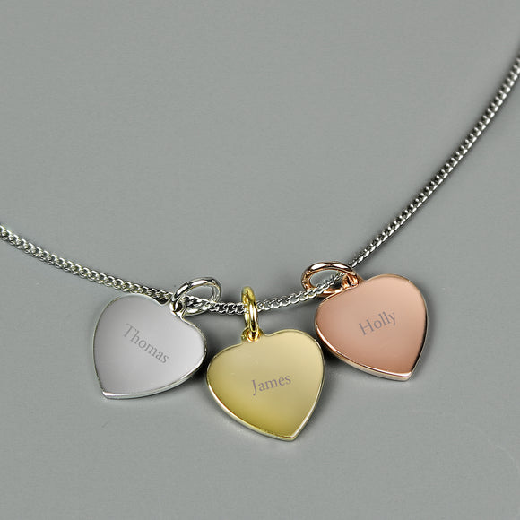 Personalised Gold, Rose Gold and Silver 3 Name Hearts Necklace