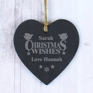 Personalised Christmas Wishes Slate Heart Decoration