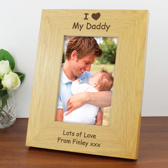 Personalised I Heart... Oak Finish 4x6 Photo Frame Main Image