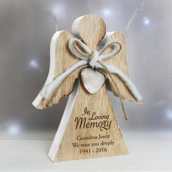 Personalised In Loving Memory Rustic Wooden Angel Decoration