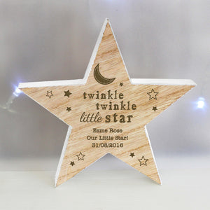 Personalised Wooden Star Twinkle Twinkle Text