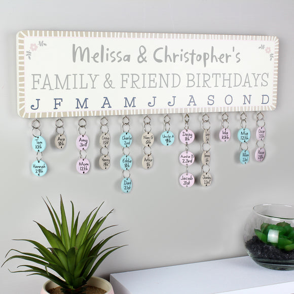 Personalised Birthday Planner Plaque with Customisable Discs