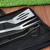 Personalised Stainless Steel BBQ Kit Utensils Close Up