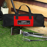 Personalised Stainless Steel BBQ Kit in Garden