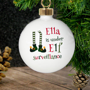 Personalised Christmas Bauble - Elf Surveillance