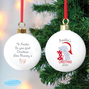 Personalised Tiny Tatty Teddy 'My 1st Christmas' Bauble