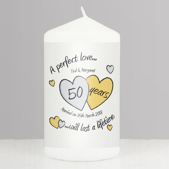 Personalised A Perfect Love Golden Anniversary Pillar Candle