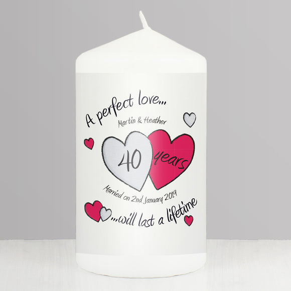 Personalised A Perfect Love Ruby Anniversary Pillar Candle