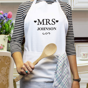 "Personalised ""Mrs"" White Apron"