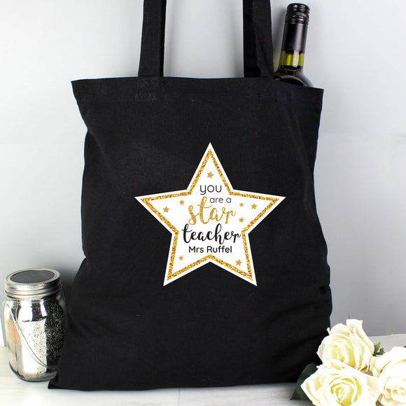 Black Tote Cotton Teacher Bag